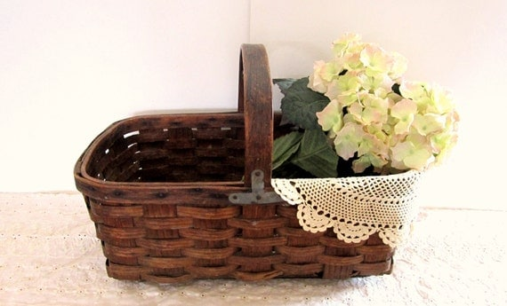Reserve for Alison - Antique Woven Market Basket - French Country Farmhouse