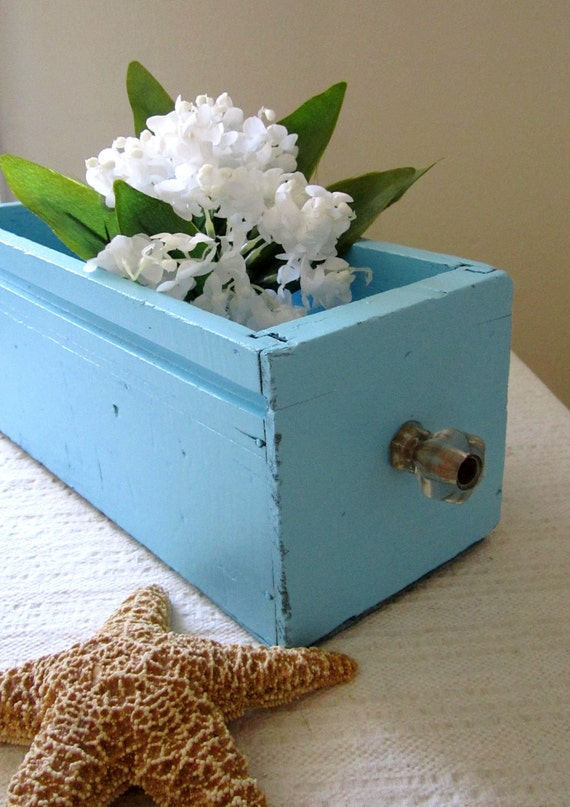 Sewing Drawer - Upcycled - Aqua Cottage Beach Decor