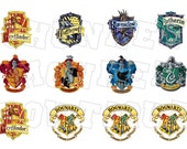 Hogwart's School of Witchcraft and Wizardry house crests bottlecap image sheet