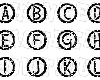 black and white polka dot alphabet bottlecap image sheet