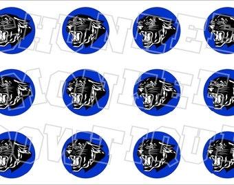 Black panther with blue background bottlecap image sheet - school mascot