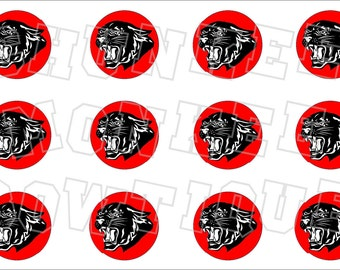 Black panther with red background bottlecap image sheet - school mascot