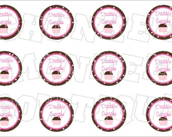 Daddy's Cupcake bottlecap image sheet pink and brown