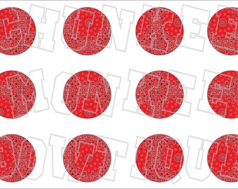Red Bandana handkerchief bottlecap image sheet