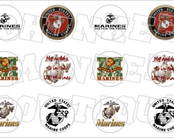 Marines military bottlecap image sheet
