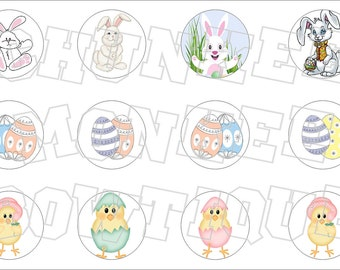 Easter holiday mixed bunny eggs chicks bottlecap image sheet