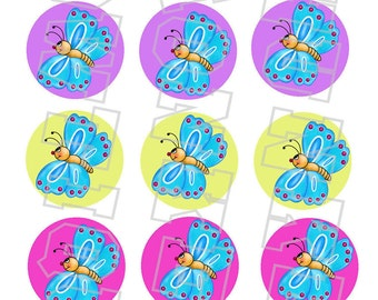 cute little colorful butterfly bottlecap image sheet