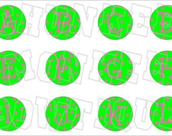 Pink and Green dotty alphabet bottlecap image sheet