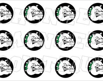 Bulldog Green Black and White bottlecap image sheet - school mascot