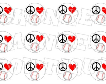 Peace Love and baseball bottlecap image sheet