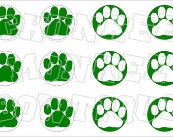 Half green half white paw print bottlecap image sheet pawprint - Can Customize