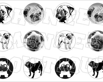 Pug puppy dog bottlecap image sheet