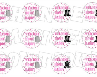 Welcome Home Daddy Military bottlecap image sheet - polka dots