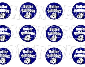 Butler Bulldogs Navy and White bottlecap image sheet - school mascot