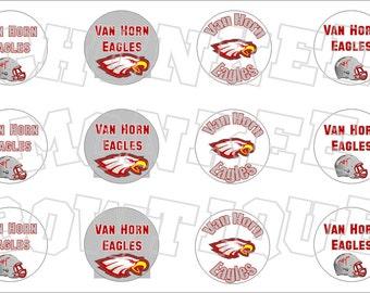 Van Horn Texas TX Eagles bottlecap image sheet -  high school mascot