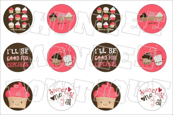Made to Match Crazy 8 M2M cupcake fall favorites bottlecap image sheet