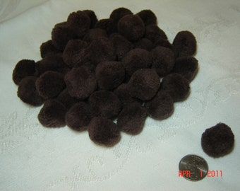 "Pompoms, 1"" chocolate brown, autumn fall color, cotton, vintage craft supply, qty. 48, ready to ship"