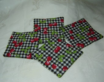 Red Cherries on Black and White Gingham check, handmade fabric coasters, mug rug, drink coasters, hostess gift, set of 4, under 10
