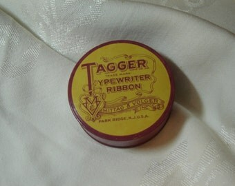 Tagger typewriter ribbon metal tin, Mittag and Volger Inc., Vintage/Collectible, circa 1950s, mauve and yellow, REDUCED, under 10