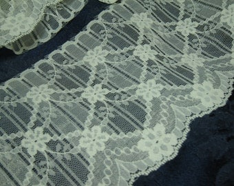 """Flat embroidered cream polyester lace,  4 1/2"""" wide, 8 1/3 yards, floral scallop, diamond pattern, sewing supply, trim destash, on sale"""
