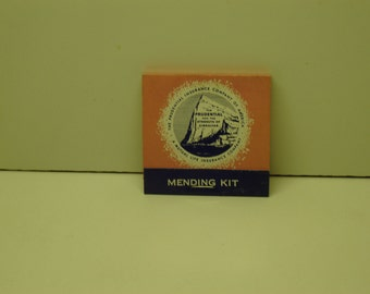 Matchbook Prudential Insurance Company mending kit for clothes and hosiery, vintage, advertising ephemera, collectible