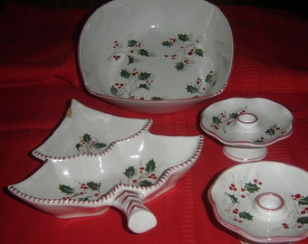 Italian pottery set, holly berry bowI, serving candy/relish dish, 2 candle holders, 4 pc. signed set, Christmas dishes, vintage 1950s