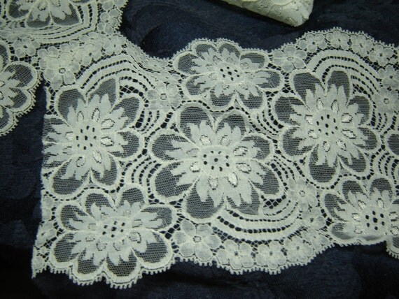 """Floral flat lace polyester trim, white, scalloped on both edges, 3 1/3 yds. 5 1/4"""" wide, sewing craft supply, trim destash, on sale"""
