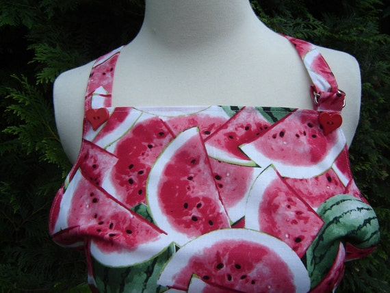 Full bib apron, colorful watermelon slices design with red heart buttons, homemade, women/teens, gift for her