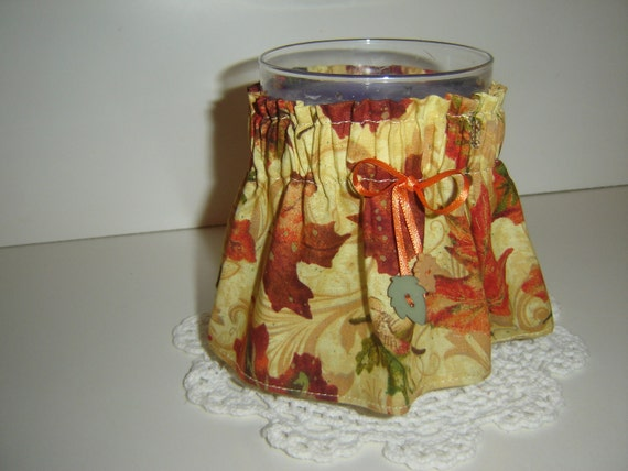 "Autumn/fall leaves Candle Cozee sleeve/wrap for 5 1/2"" or larger jar candles"