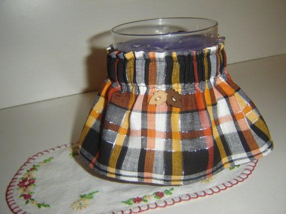 "Orange/mustard/black/white autumn/Halloween plaid Candle Cozee sleeve/wrap for 5 1/2"" or larger  jar candles, TREASURY ITEM"