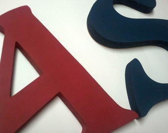 Solid Color Custom Hand Painted Wooden Wall Letters Choose Your Colors
