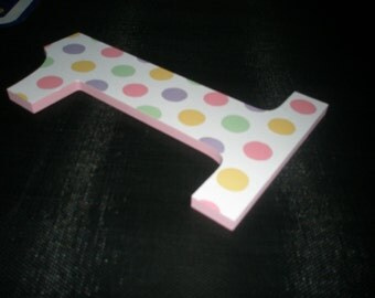 First birthday photo prop - girly polka dots - custom - hand painted - number One - 1