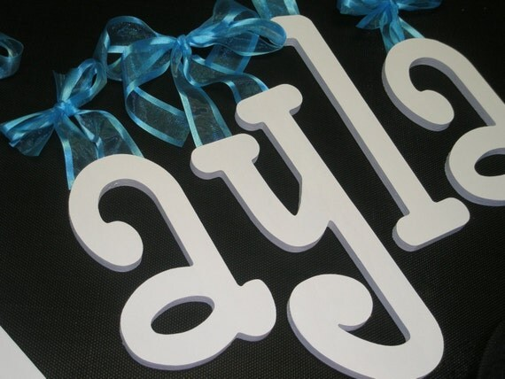 Solid Color Custom hand painted wooden wall nursery letters