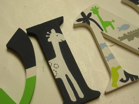 Safari - Custom - Hand Painted - Wooden Wall Letters - Nursery Letters