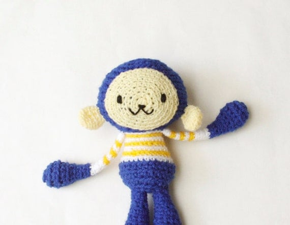Crocheted Amigurumi Monkey - Royal Blue with White and Yellow Stripe Top