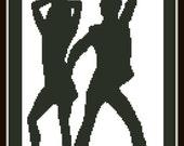 Cross Stitch Pattern Disco dance couple man woman Silhouette Handmade Black and White pdf