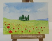 Awesome Toskana - Original watercolor ACEO - Italy - Red, Green, Blue - for her - for him