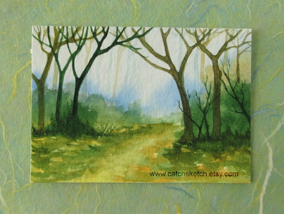 ORIGINAL WATERCOLOR ACEO - The Secret of Forest  no.2 - Gift for Him - Gift for Her - Watercolor Art