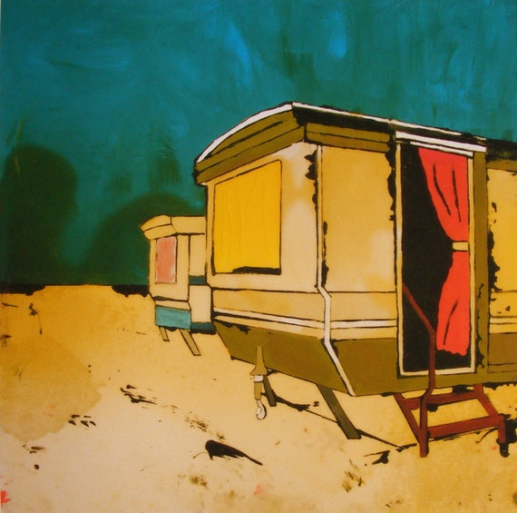 Ltd Edition Giclee Art Print Two Static Caravans