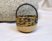 Bowl Basket in  Brown and Natural Hemp 1 inch scale