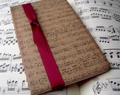 Altered Kraft Moleskine Cahier Pocket Notebook / Journal - Hand stamped musical score design