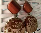 Chocolate Soda Bottle Cap Earrings