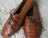 Vintage Woven Leather Oxford Shoes (with multicolored strands)