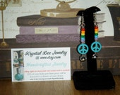 """2 3/4"""" Gay Pride dangle earrings   lightweight earrings with rainbow beads and peace symbol (FREE Shipping in continental US)"""