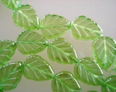 25 - Czech Glass Transparent Medium Green Luster Leaves with vertical hole 8x10mm