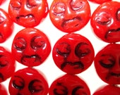 Czech Glass Opaque Red with Black Face Moon Beads 9mm