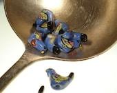 5 - Talavera Style Blue Porcelain Clay Bird Beads