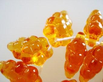 Czech glass transparent gold glass grape beads 11x16mm