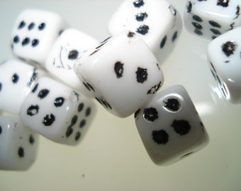 Czech Glass Opaque White Dice beads with black inlay 8mm