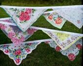 Vintage Hankies Bunting Banner Pink Floral Hanky Garland 12 Feet Long